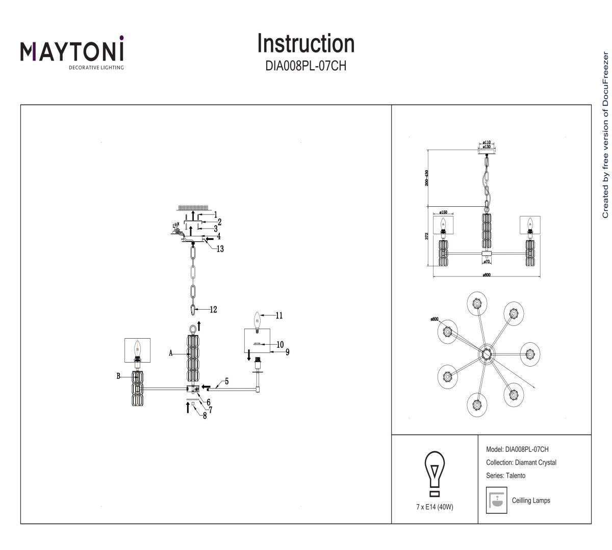 Люстра подвесная MAYTONI DIA008PL-07CH