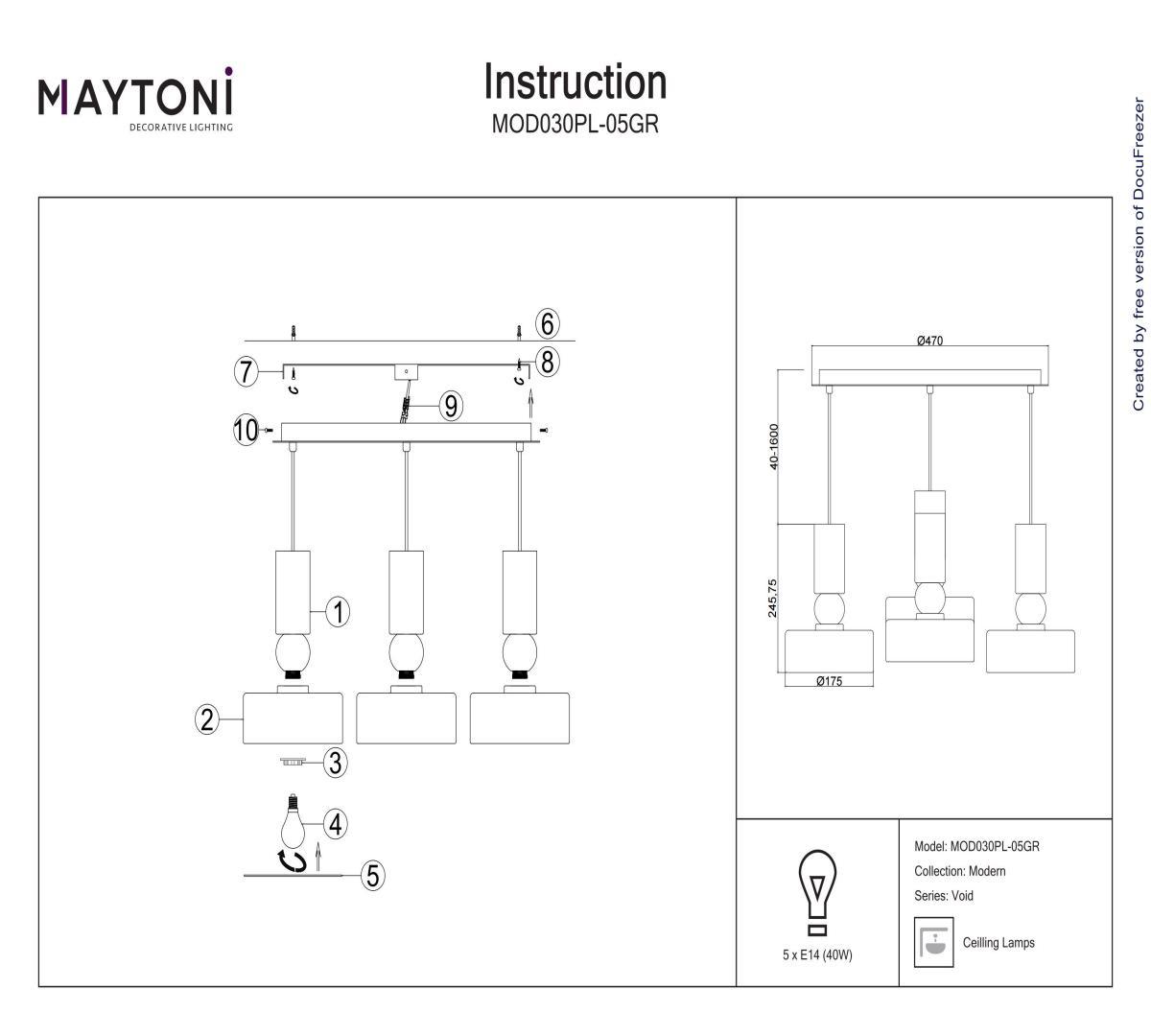 Люстра подвесная MAYTONI MOD030PL-05GR
