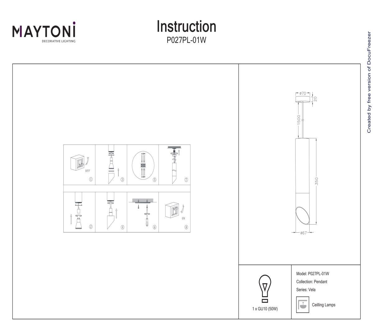 Подвес MAYTONI P027PL-01W