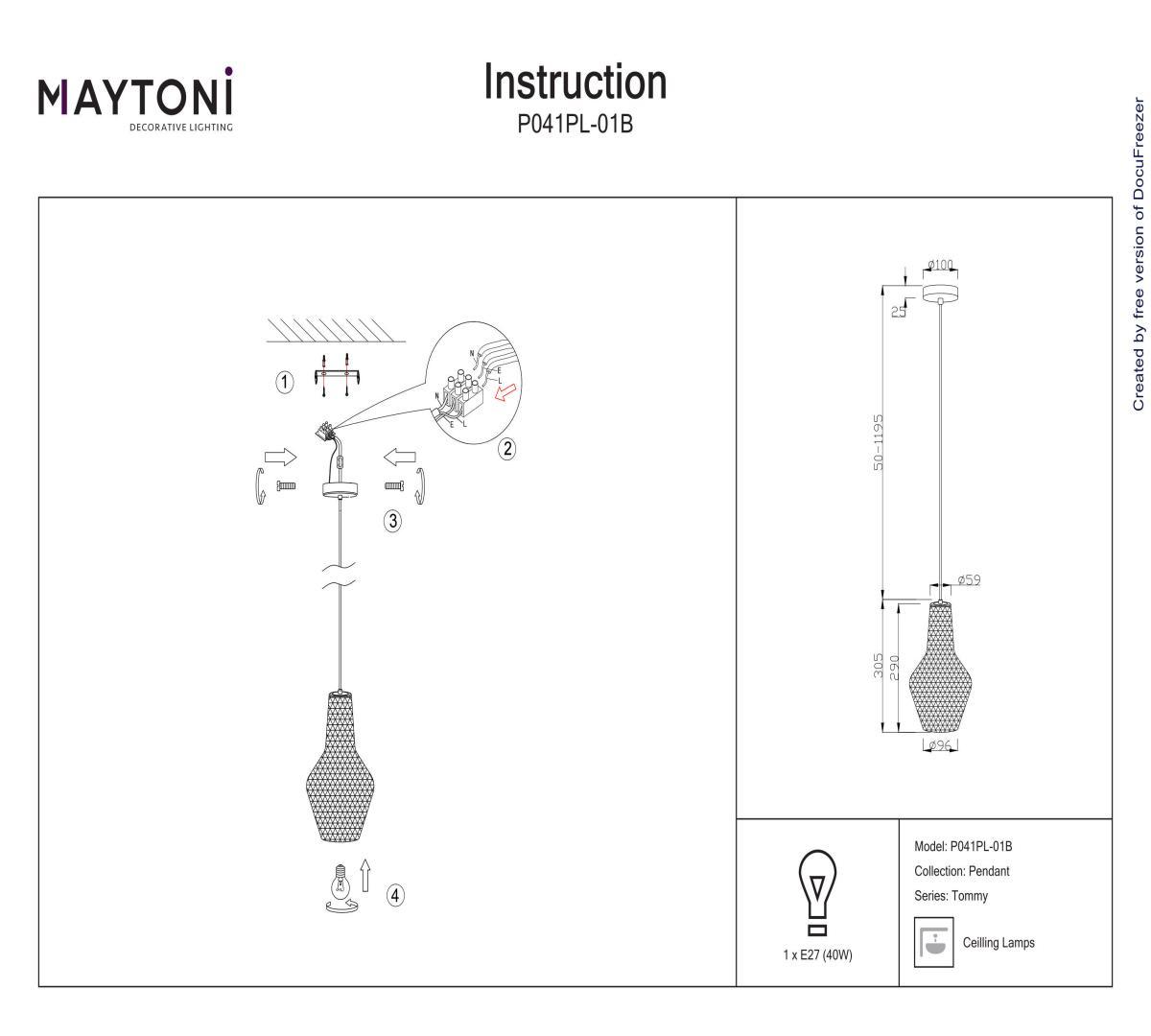 Подвес MAYTONI P041PL-01B