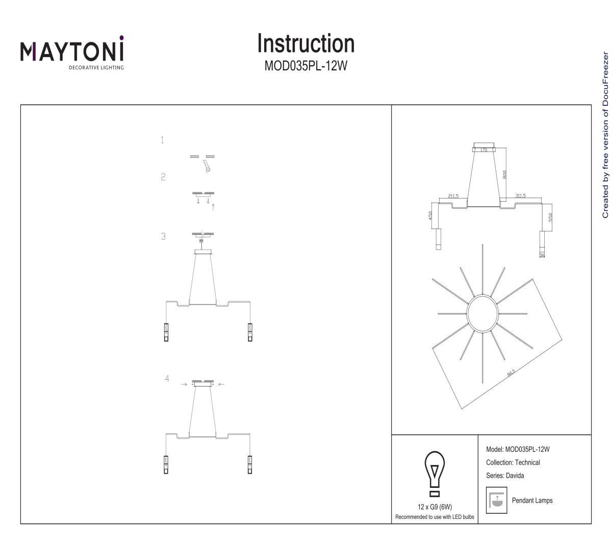 Люстра каскад MAYTONI MOD035PL-12W