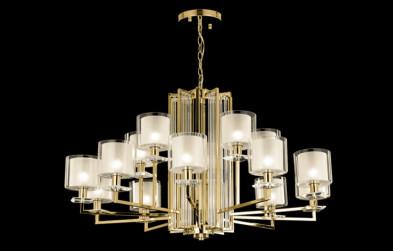 Люстра подвесная Crystal Lux NICOLAS SP-PL10+5 GOLD/WHITE