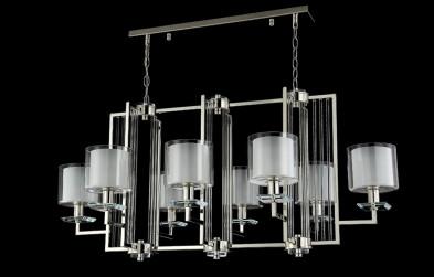 Люстра подвесная Crystal Lux NICOLAS SP8 L1000 NICKEL/WHITE
