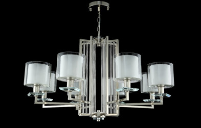 Люстра подвесная Crystal Lux NICOLAS SP-PL8 NICKEL/WHITE